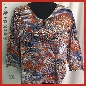Anne Klein Abstract Print Top 3/4 Sleeves Size 1X